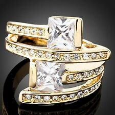 18k white gold swarovski crystal women wedding Double Diamond rings jewelry