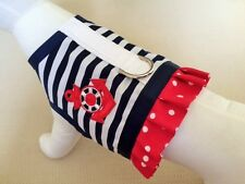 White And Navy Stripes Nautical Ruffle Dog Harness Apparel Vest