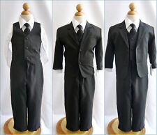 Well tailored boy Black formal suit wedding ring bearer recital party all sizes