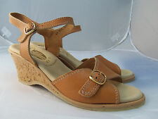$84 NEW WORISHOFER 711 Sherry Tan Nude Cork Wedge Ankle Sandal
