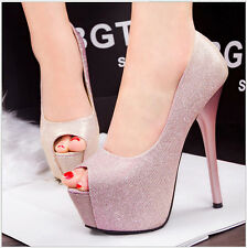 Bling Women Shoes Platform Stilettos Peep-toe Clubwear Pumps Party OL High Heels