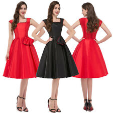 HOUSEWIFE Rockabilly 50s Vintage Square Neck Dress Swing Pinup Prom Dress S-XL