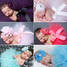 Cute Newborn Baby Girls Flower+Tutu Clothes Skirt Photo Headdress Prop Outfits