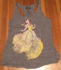 NWT Ladies Disney Beauty Belle Distressed Heather Gray Racer Back Tank Top Shirt