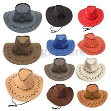 Retro Men Boy Brim Cap Western Felt Cowboy Bucket Sun Visor Knight Hat headwear