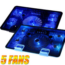 "5 Fans Blue LED 2 USB Port Cooling Stand Pad Cooler 10""-17"" Laptop Notebook NEW"