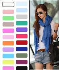 Ladies Womens Pure Candy Long Crinkle Soft Scarf Wrap Voile Wraps Stole Shawl