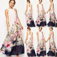 Vintage Floral Chiffon Bodenlang Maxikleid Strandkleid Party Damen Kleid 36-42
