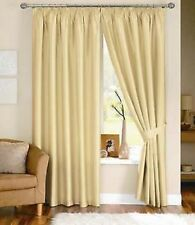 Cream Lined Faux Silk Curtains + Tiebacks in 8 Sizes