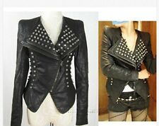 2016 New Womens Punk Spike Studded Shoulder Leather Jacket coat Size S-XL Black