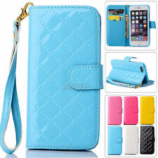 Glossy Quilted Faux Leather Flip Folio Handbag Wristlet Wallet Case For iPhone