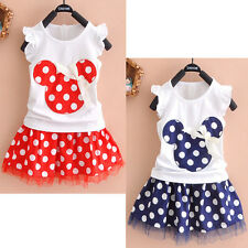 2Pcs Toddler Baby Girls Kids Princess Party Mickey Mouse Dress Dot Dresses 1-4Y