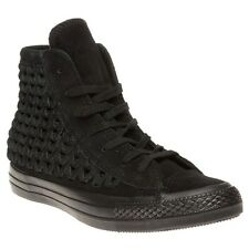 New Womens Converse Black All Star Hi Suede Trainers Top Lace Up