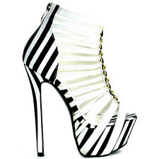 Candy-Cane Black Blue Red White Striped Open toe Strappy Stiletto Heels
