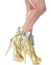 Succi-02 Gold Snake Peep toe Platform Ankle Boot Stiletto Heels Women's shoes