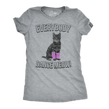 Womens Everybody Dance Meow Funny Cat Mom T Shirt Cute Kitten Tees