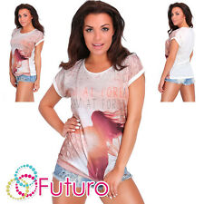 Party Sequined T-Shirt Forest Short Sleeve Casual Top Tunic Size 8-12 FB239