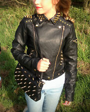 NEW Black Leather Biker Jacket Coat Spike Studs Studded In Gold Party RARE Gift