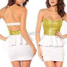 Sexy Women's Summer Sequin Backless BodyCon Strapless Party Cocktail Mini Dress