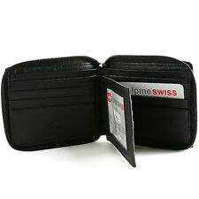 Mens Zip Around Bifold Wallet Safe By Alpine Swiss Secure Zipper Genuine Leather