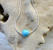 Blue Turquoise Simple Bead Necklace on Sterling Silver Chain, 6mm Gemstone