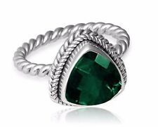 5ct. Green Quartz 925 Sterling Silver Twisted Band Ring Sz 6.5,  7.5, 8