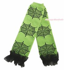 Halloween Black Ruffles Spider Web Girl Cotton Kid Baby Green Leg Warmer Legging