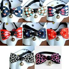 Adjustable Dog Cat Pet Cute Bow Tie With Bell Puppy Kitten Necktie Collar JNEG