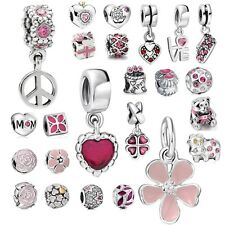 Pink pendant 925 silver charms dangle bead For Sterling PAN bracelet necklace