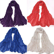Women Girl Long Big Crinkle Cotton Pure Candy Colors Soft Scarf Wrap Shawl Stole