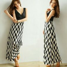 Wrapped V-neck Strappy Back Womens Houndstooth Print Full Length Maxi Dress 6875
