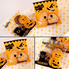 Trick Pumpkin Halloween Cello Cellophane Party Favour Sweet Biscuit Gift Bags