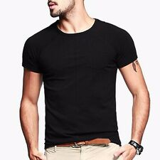 Mens Simple Casual T-Shirt Short Sleeve Round Neck Basic Tee L XL 2XL 3 Colors