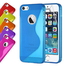 Silicone Rubber Gel Case Cover For Apple iPhone 5 5S Free Screen Protector