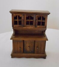 Old Vintage Miniature Dollhouse Furniture Wooden Hutch China Cabinet Doors Open