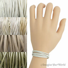 White Custom Leather Cord Wrap Bracelet 72 inches (or less) Necklace Anklet +