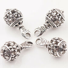 10/20Pcs Tibet Silver Flower Pattern Round Spacer Loose Bead Pendant DIY 10*20mm