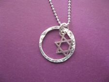 Star of David with Eternity Circle Necklace Sterling Silver Charm and Ball Chain