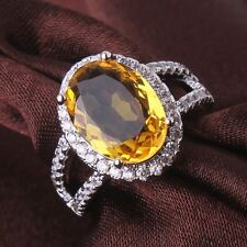 Ladies's Jewelry!Sz6-Sz10! 18k white gold filled yellow Sapphire party ring
