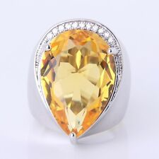 Sz6-Sz10!18k white gold filled Yellow pear drop young cool Sapphire nice ring