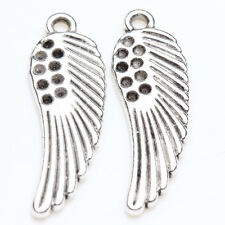 10/20Pcs Tibet Silver Hole Carved Angel Wing Charms Pendants Finding DIY 26*8mm