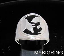 STERLING SILVER MEN'S RING WALLSTREET BEAR AND BULL YING YANG BLACK ANY SIZE