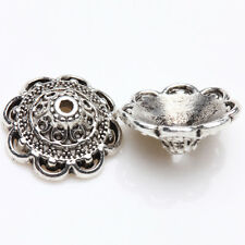 Lots 15/30Pcs Tibetan Silver Flower Bead Caps Jewelry Necklace Bracelet 14*5mm