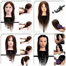 Hairdressing Practice Training Head Human Long Hair Model Mannequin Doll Clamp