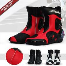 New Fashion Mens Black Motorcycle Racing boots Biker Boots Motorbiker Size Shoes