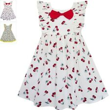 Sunny Fashion Girls Dress Bow Tie Cherry Fruit Overlap Design Red Age 4-10