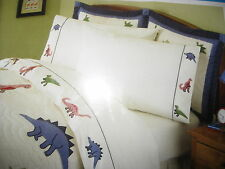 NEW KIDS EXPRESSIONS DINOSAURS TWIN OR FULL COTTON SHEET SET + WINDOW VALANCE