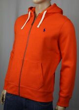 Polo Ralph Lauren Orange Hoodie Full Zip Sweatshirt Blue Pony NWT