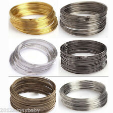100/500 Loops 55/60mm Gold/Silver Plated Memory Steel Wire Cuff Bangle Bracelet