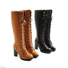 New Ladies Fashion Block High Heel Lace Up Knee Boots Round Toes Shoes UK Sizes